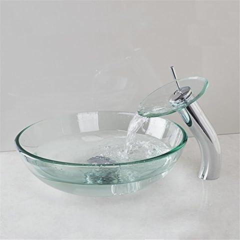 Modylee Lavabo de cristal claro Lavabo de fregadero Lavabo de lavabo Coutertop Juego de grifo de lavabo Accesorios de baño lavabo Lavabo del baño