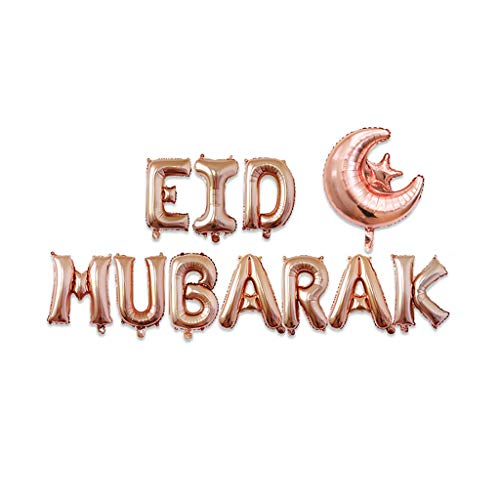 Fuwahahahahah 40,6 cm Happy Eid Mubarak Ramadan Letter Folienballons Dekoration Alphabet Banner Mond Set Party Supplies für Muslim 03