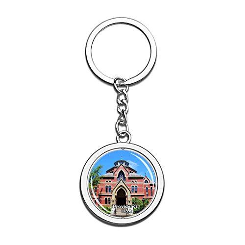 Schlüsselbund Brown University Providence Vereinigte Staaten USA US Schlüsselbund Kristall Drehen Rostfreier Stahl Schlüsselbund Andenken Schlüsselanhänger