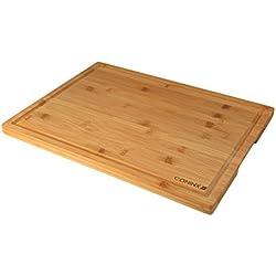 Tabla de Cortar Extragrande de Bambú - 40 x 30x 2 cm - Tabla de Cortar con Surco Coninx de Resistente Madera de Bambú
