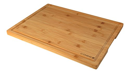 Grande planche à découper en bambou - 45 x 30 x 2 cm de large planche et robuste à découper en bambou avec rigole bambou de style