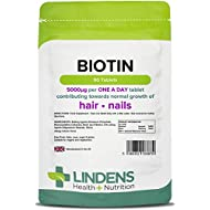 Lindens Biotin 5mg Tablets | 90 Pack | Contributes Towards Normal Hair and Nail Strength for Women & Men with Each Serving Contains 100X Nrv of Biotin