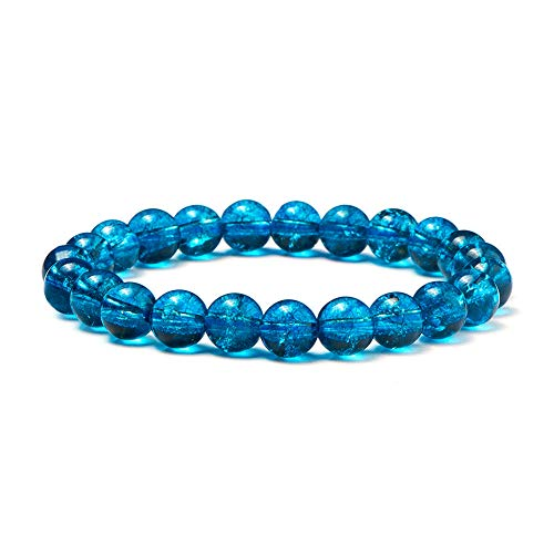 Sunnyclue naturale genuino gemme crackle quarzo cianite bracciale elasticizzato 8 mm rotondo perline circa 7