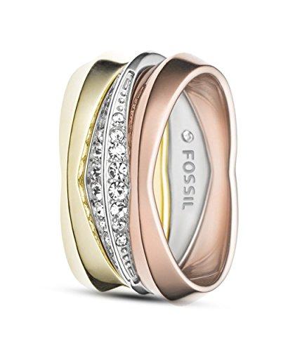 Fossil Damen-Damenring Edelstahl Glasstein 53 Silber/Gold/rosé/Tricolor 32004705
