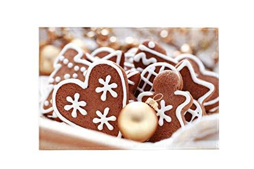 Wamnu Heart Shaped Chocolate Christmas Cookies Large Area Rugs,Dirty Children's Carpets for Living Roooms,Bedrooms,Children's Doormats (L.ein. Willkommen Halloween)