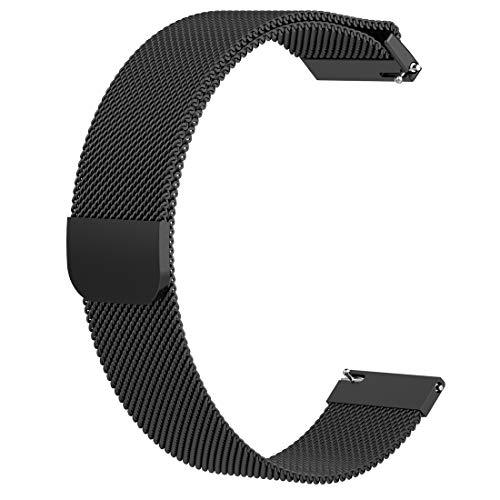 AWADUO Kompatibel für Fossil Gen 4 Q Venture HR MilaneseErsatzband, 18mm Ersatz Handgelenk Band Zum Fossil Gen 4 Q Venture HR, Fossil Gen 3 Q Venture, Nokia Withings Steel HR(36MM)(Schwarz)