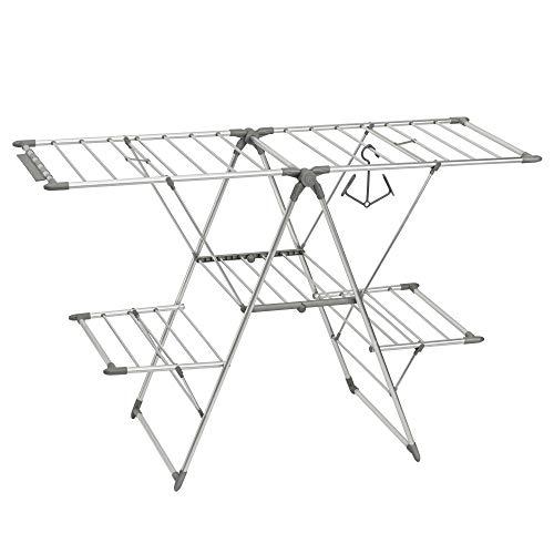 iDesign 39776EU Brezio Ausziehbarer Wäscheständer aus Aluminium für Wirtschaftsküche, 5 Regale, 157,48 x 60,96 x 177,17 cm, silberfarben/poliert/grau, rustproof aluminum
