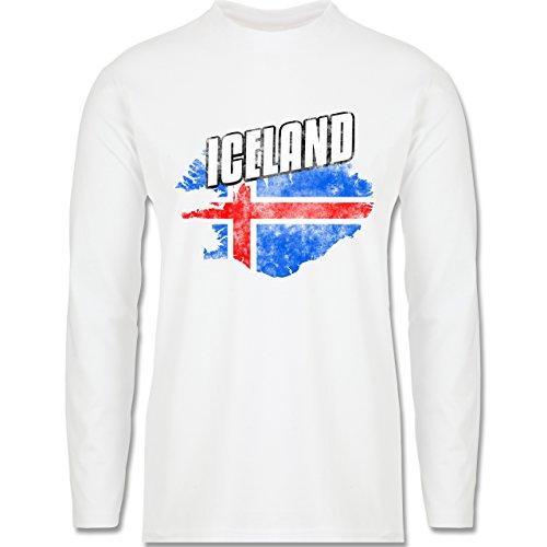 EM 2016 - Frankreich - Iceland Umriss Vintage - Longsleeve / langärmeliges T-Shirt für Herren Weiß