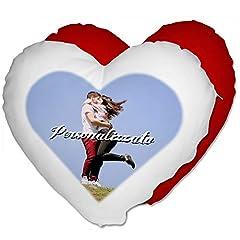Idea Regalo - Cuscino Cuore Personalizzato con Foto - Rosso, Cuore 40x40 cm - con Imbottitura