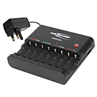 ANSMANN Powerline 8 battery charger with UK & EU Plugs and LED lights | 8 way fast charger to charge and discharge NiMH rechargeable 1.2V AA & AAA batteries | Pro USB port for camera, phone and tablet