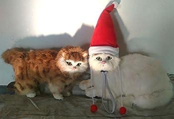 Déguisement de père Noël pour chien ou chat, chien et chat Costume pour animal domestique réglable lavable confortable Fancy Chapeau de Père Noël Chien Vêtements Robe pour Halloween Noël de Pâques Festival fête Activity- Taille unique Compatible avec la plupart des