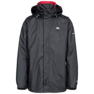 Trespass Mens Fraser II Waterproof Rain/outdoor Jacket With Concealed Hood, Black (black), XL