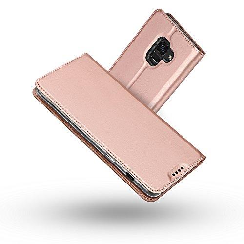 Galaxy A8 Plus 2018 Hülle,Galaxy A7 2018 Hülle,Radoo® Premium PU Leder Handyhülle [Ultra Slim][Kabelloses Aufladen Unterstützung] Brieftasche-stil Magnetisch Folio Flip Klapphülle [Transparenter TPU Stoßfänger] Etui Brieftasche Hülle [Karte Halterung] Schutzhülle Tasche Case Cover für Samsung Galaxy A8 Plus 2018 / Galaxy A7 2018 (Rose gold)