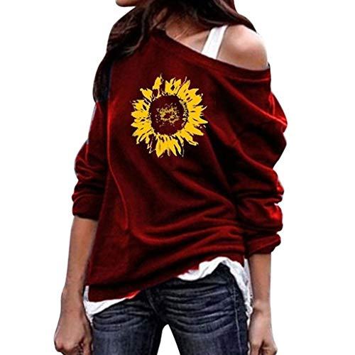 TEFIIR Sweatshirt für Frauen, Oktoberfest, Leistungsverhältnis Lange Ärmel Mode Lässig eine Schulter Sonnenblumen Print Blusen Langarm Geeignet für Freizeit, Dating, Strandurlaub