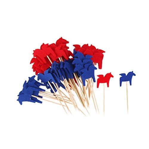 Baoblaze 50x Nationelle Flagge Sticks Stäbchen Zahnstocher Spieße Dekoration für Cocktail Obst Sandwich Cupcake usw. aus Papier und Holz - Pferd, 8 cm