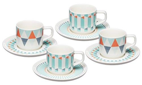 Geometti Tazas de café con platillos, Juego de 4