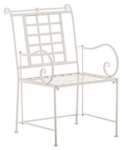 Chaise de jardin en fer coloris blanc - 90.5 x 57 x 66 cm -PEGANE-