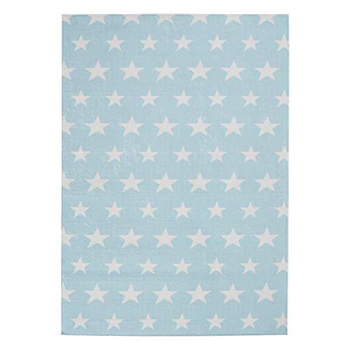 mynes Home Kurzflor Teppich Waschbar rutschhemmend Sterne Muster Blau Kinderzimmer Modern (120x170cm)