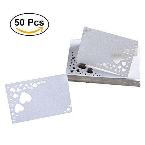 rz Hollow Karton Name Platz Karten Name Tags Tischkarten für Hochzeit / Geburtstagsfeier / Valentinstag Dekor,falten Größe 9 * 6CM (L * W) (Platz-karte)