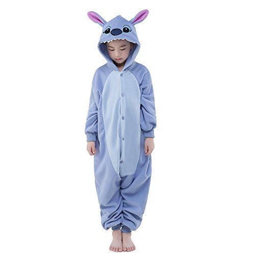 Newcosplay Halloween Unisex Animal Pyjamas Child Cosplay Costume (125, Stitch)