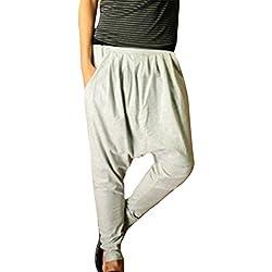 Minetom Hombres Pantalón Pantalones Harem Pantalones De Los Deportes Fitness Suelto Entrepierna Pantalones Gris Claro EU XL