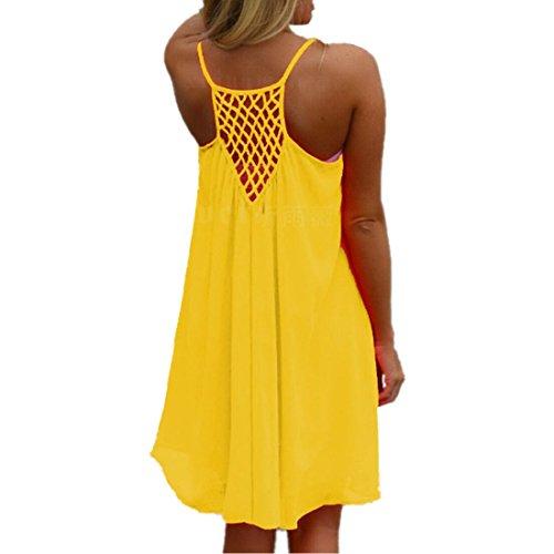 ASCHOEN Damen Minikleid Sommerkleid Strandkleid A-line Kleid Chiffon Abend Partei Kurzschluss