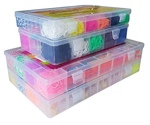 G&E Leipzig Loom Bands 4er Set mit sehr vielen unterschiedlichen Boxen mit ca. 13600 Looms Latex frei incl. 1x Webrahmen + Webhaken pro Box