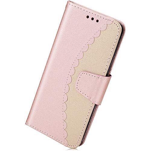 Kompatibel mit Leder Schutzhülle Huawei P20 Leder Hülle Handytasche Ledertasche Handy Hülle Mädchen Luxus Flip Case Cover Klapphülle mit Kartenfächer Standfunktion,Rose Gold + Gold