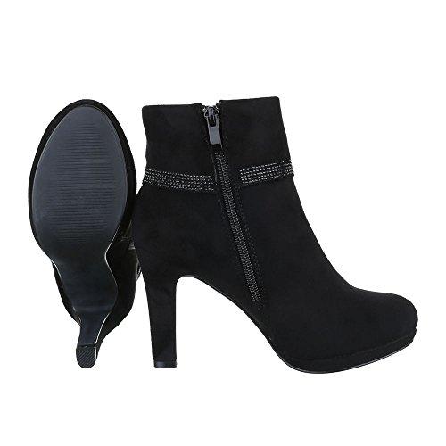 High Heel Stiefeletten Damen Schuhe Schlupfstiefel Pfennig-/Stilettoabsatz Strass Besetzte Reißverschluss Ital-Design Stiefeletten Schwarz