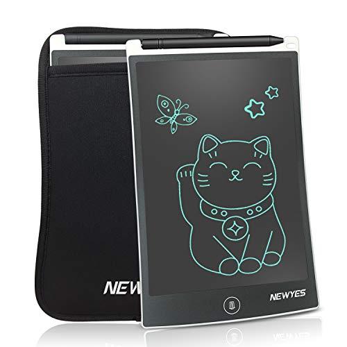 NEWYES Tablet da Scrittura LCD Portatile con Custodia, Lunghezza 8,5 Pollici, Vari Colori (Bianco + Caso)