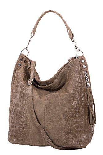 Shopper borsa, borsa a tracolla, Mod. 2107 pelle, croco-look Italy Talpa scuro