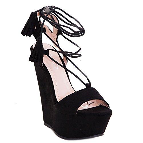 Toocool - Scarpe donna zeppa schiava scamosciati sandali plateau tacchi sexy nuovi F35-11 Nero