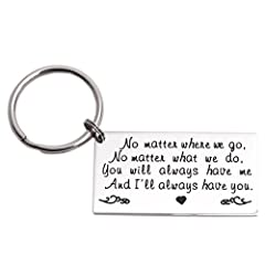 Idea Regalo - LParkin Long Distance Friendship Gift portachiavi in acciaio INOX-no Matter where We Go, no Matter what We do, You will always have Me, i will always have you