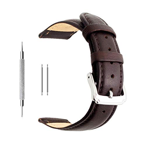 Berfine Ersatz-Uhrenarmband aus Kalbsleder, extra weiches Uhrenarmband für Herren und Frauen, Schwarz und Braun, 18/20/22mm, dunkelbraun, 22 mm -