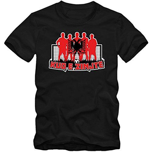 Albanien EM 2016 #7 T-Shirt | Shqiperia | Fußball | Herren | Kuq e zinjtë | Trikot | ALB | Nationalmannschaft © Shirt Happenz Schwarz (Deep Black L190)