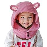 DORRISO Kinder Baby Mütze Nackenschutz-Set Kopf mit Kapuze Winter Herbst Strickmütze Karikatur Niedlich Katze Unifarbe Jungen Mädchen Mütze