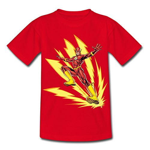 Spreadshirt DC Comics Justice League Flash Blitze Kinder T-Shirt, 110/116 (5-6 Jahre), Rot