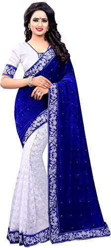 Lovisa Fashion Velvet Saree (bluevel_Blue_Free Size)