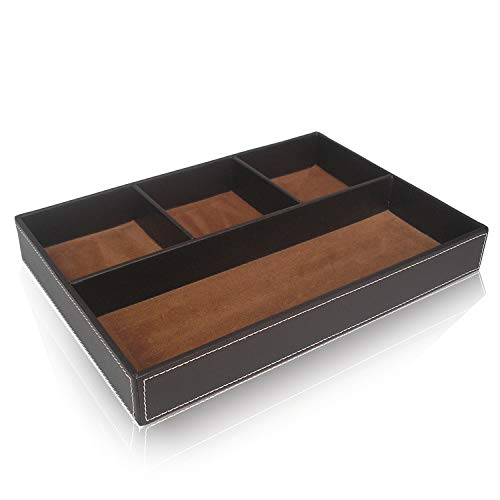 Aehma Schubladeneinsatz Büro Organisator Schreibtisch Organizer Schublade-Aufbewahrung-Einsatz Box, 30.5x21x4.3 cm, braun, aus künstliches Leder und hart Faserplatte, Organiser in 4 Fächer 4.3 Leder