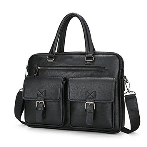 Herren Aktentasche Handtasche Business Fashion Messenger Bag 14 'Computer Tasche Horizontal Black (Wasser-kühler Warenkorb)