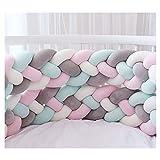 Bettumrandung,Baby Nestchen Kinderbett Stoßstange Weben Bettumrandung Kantenschutz Kopfschutz für Babybett Bettausstattung 220cm (Weiß + Grau + Grün + Rosa)