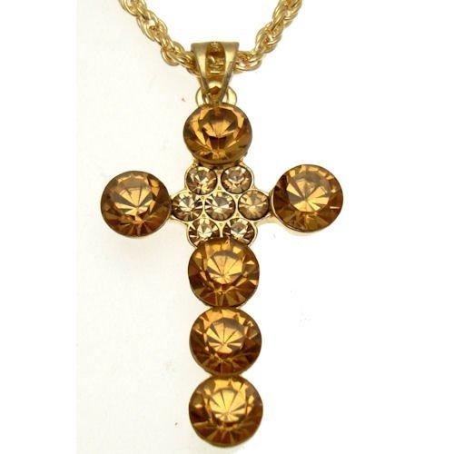 Farbige Gold Schmuck Kostüm - Acosta Jewellery-Light Topaz Kristall Kreuz-Gold Farbige Kostüm Halskette
