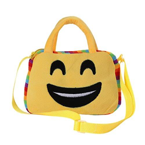 emoji tasche Emoji Tasche, Messenger Umhängetasche, niedliche Emoticon Lunch Rucksack Handtasche für die Schule, Emoji Gesicht Ausdruck Travel RuckSack für Kinder Kinder - Smiley mit offenem Mund von Purple-Salt®