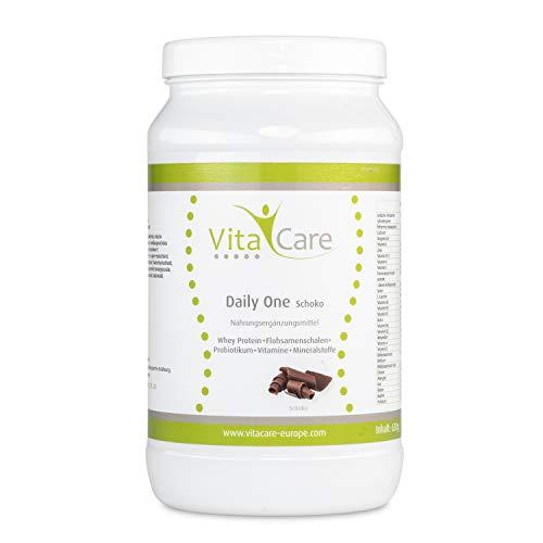 VitaCare Daily One Protein-Shake Schokolade - Whey-Proteinpulver mit Flohsamenschalenpulver & Probiotikum - Mit nur 94 kcal pro Portion ideal zum Abnehmen - 1 x 630 Gramm