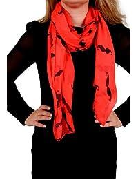Calonice Amorino Femme Foulard rouge motif moustache 100% Polyester 100x180 cm (LxH) 19000