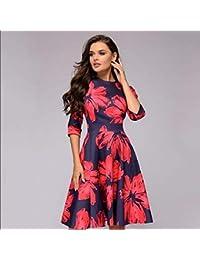 628683e01aff TTZZ Vestito Elegante da Donna Vintage con Stampa Abiti da Festa Vestito  Casual da Donna con