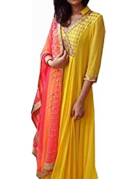 Skyblue Fashion Yellow Color Georgette Real Mirror Work Straight Cut Suit With Heavy Work On Dupatta