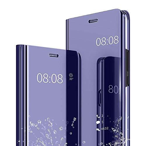 Homikon für Huawei Mate Enjoy 7S/P Smart Hülle Spiegel Flip Schutzhülle Überzug PU Leder Tasche Handyhülle Ultra Dünn Stoßfest Standing Bookstyle Case Slim Fit Cover Lila