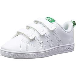 Adidas Vs ADV Cl Cmf C, Scarpe da Fitness Unisex-Bambini, Bianco Ftwwht/Green, 34 EU