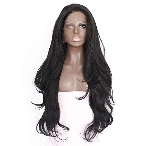 Trend jewelryPeluca Lace Front Sintéticas Recto Kardashian Estilo Encaje Frontal Peluca Negro Natural 18-26 pulgada Mujer Resistente al Calor /Naturales / Con cola de Caballo Negro:Negro Natural